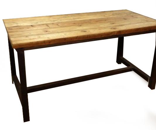 Mesa hm hierro madera muebles de hierro lat n zinc for Mesa carro bar madera